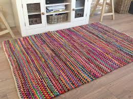 fab fair trade checked multi coloured cotton rag rug small cotton rag rugs 8 x 10
