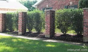 Metal Fence With Brick Metal Fence Brick Columns Picture Interunet