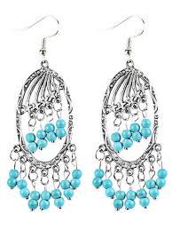 bohemian faux turquoise beads chandelier earrings silver