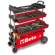 folding tool utility cart for portable use red