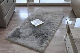 cuteshower serene super soft faux fur rug kids carpet with fluffy thick used as an area rugs in bedroom 2ft x 3ft gray