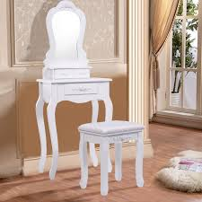 costway white vanity jewelry makeup dressing table set bathroom w stool drawer mirror wood desk