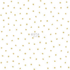 Bolcom Estahome Behang Polka Dots Glanzend Goud En Wit 138937