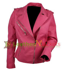 pink leather jacket outfit