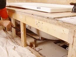 installing a new bathtub. Crow Bar Helps Raise Tub Up From Floor Installing A New Bathtub
