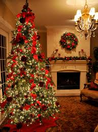 Living Room Christmas Decorating Elegant Christmas Tree With Led Lights And Red Tape Accesories As