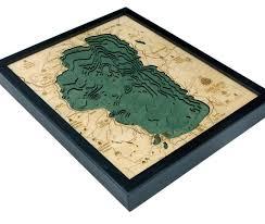 Wood Bathymetric Charts 3 D Framed Wood Bathymetric Charts