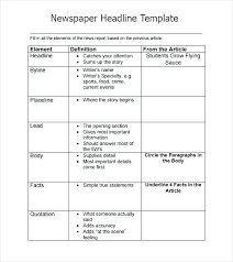 Free Newspaper Article Template For Students Sports Newspaper Article Template Magazine Free Printable Headline T