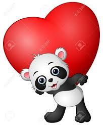 Panda De Dessin Anim Tenir Le Coeur Rouge Clip Art Libres De