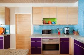 colorblocked lime plum and aqua kitchen color scheme