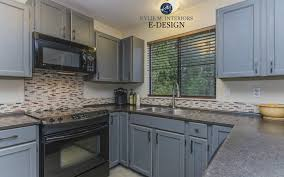 benjamin moore chelsea gray painted oak wood cabinets mineral jet formica lamiante countertop kylie m interiors edesign budget friendly kitchen remodel