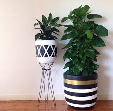 Planters, Indoor Pots For Plants Ceramic Flower Pots Black And White Color  Stand Pot And
