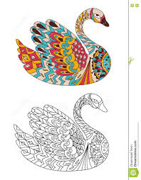 Small Picture Printable Coloring Book Page For Adults Swan Design Activity To
