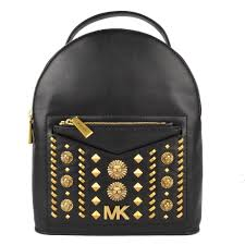jessa small black leather studded backpack