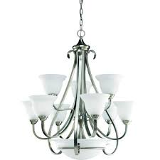 progress lighting torino 9 light brushed nickel chandelier with etched glass shade