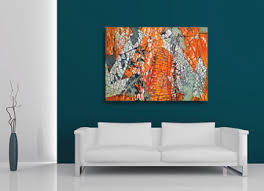 Contemporary Wall Art Canvas A Contemporary Orange Abstract Canvas Wall Art  Print Mutant Limited Edition For The Modern Home By Sam Freek