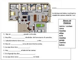 La Casa Sentences To Fill In With Word Bank And Floor Plan