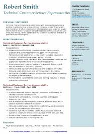 Qualifications For A Customer Service Representative Technical Customer Service Representative Resume Samples