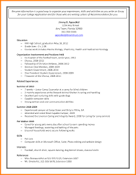 High School Resume For College Application Sample Free Resume