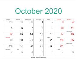 October 2020 Calendar Printable With Holidays