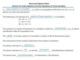 advanced algebra notes section 3 4 solve systems of linear equations in three variables powerpoint ppt presentation