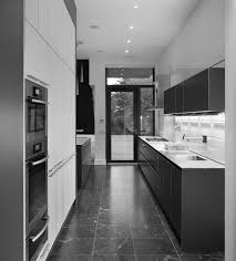 Exquisite Two Tone White And Grey Kitchens Decors For Modern Galley Kitchen  Ideas Added White Color Countertop As Well As Grey Polished Cabinetry Set  ...