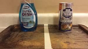 how to clean a cookie sheet soap vs bar keepers friend cleaning experiment you