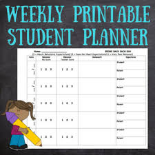 Student Weekly Planner Template Weekly Printable Student Planner Template Homework Behavior Parent Signature