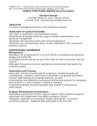 Sample Functional Resume American Style In Word And Pdf Formats