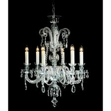 liberec 6 light ceiling pendant in chrome and clear crystal finish with white candle sleeves