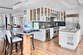 deluxe white kitchen with modern wood floor