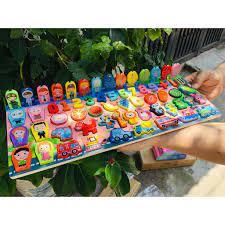 Bộ đồ chơi bảng gỗ câu cá vs ghép số hình thông mình cho bé 63 chi tiêt