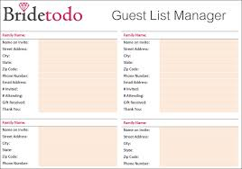 7 Wedding Guest List Template Free Word Excel Pdf Formats
