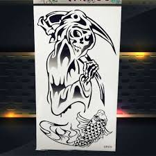 Us 079 Fantasma Cranio Halloween Disegno Impermeabile Temporary Tattoo Sticker Donna Uomo Nero Falso Flash Tattoo Uomini Carpa Pesce Pattern In