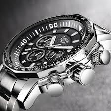 <b>LIGE</b> Fashion Blue Chronograph Leather Clock <b>Mens Watches</b> Top ...