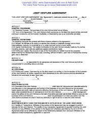 Joint Partnership Agreement Template Join Venture Agreement Template Joint Pdf Business Sample Doc 19