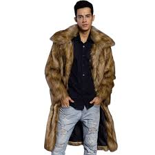 men s plus size long faux fur coat brown 2xl