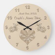 60th wedding anniversary gift couple s names date large clock zazzle co uk