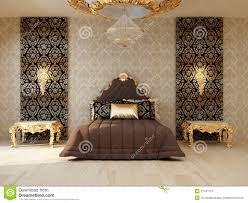 Luxury Bedroom Furniture For Luxury Bedroom With Golden Furniture Royalty Free Stock