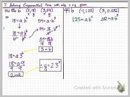 finding exponential equations given two points