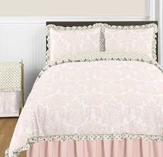 blush pink gold and white amelia 3pc full queen girls bedding set by sweet jojo designs only 119 99