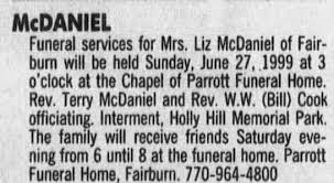 Obituary for Lizzie Mae Thompson McDaniel in 1999. - Newspapers.com