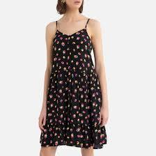 <b>Платье короткое</b> на тонких бретелях с принтом рисунок черный ...