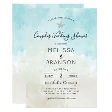 Couple Wedding Shower Invitations Beach Themed Watercolor Couples Wedding Shower Invitation