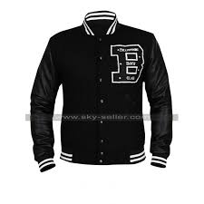 mens bbc billionaire boys club er varsity wool black leather letterman jacket