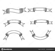 Ribbon Banner Template Black And White Blank Ribbon Banner Template Blank Ribbon Banner Vector