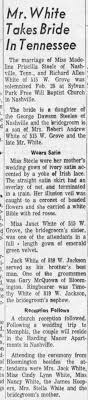 Mr. White Takes Bride In Tennessee Richard Alan white to Madeline Priscilla  Steele - Newspapers.com