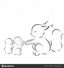 Kleurplaat Overzicht Van De Vector Tekening Eekhoorns Moeder En