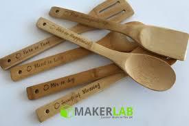 personalised 6pc cooking baking utensils set makerlab uk bespoke wood acrylic metal s gifts