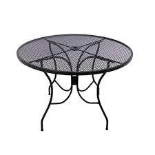 wrought iron round patio table and